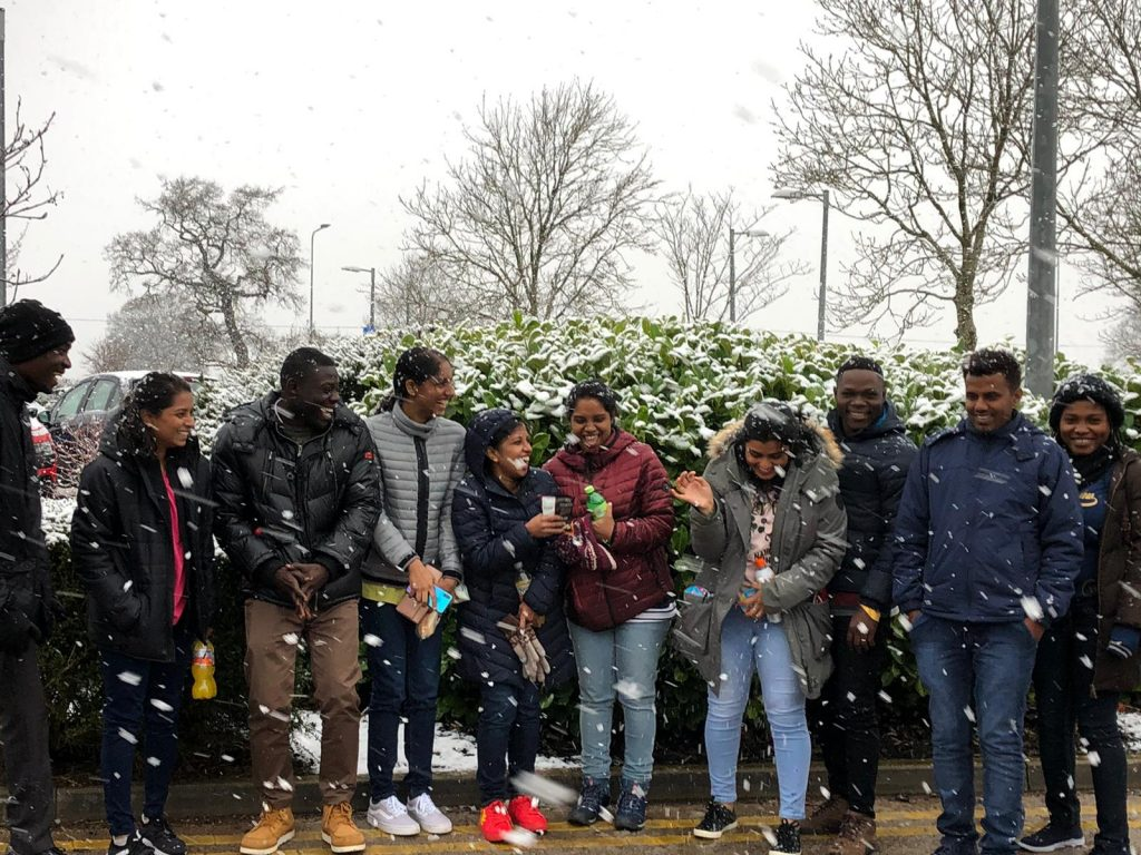 Candidates for Mid Cheshire Hospitals NHS Foundation Trust being greeted by Julie Mitchell (Head of Resourcing) on their arrival at the hospital premises and enjoying a snowy day.