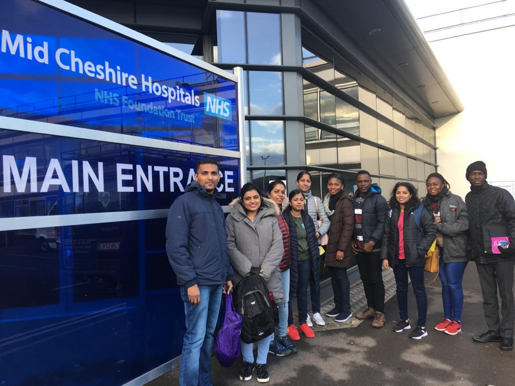 Candidates for Mid Cheshire Hospitals NHS Foundation Trust being greeted on their arrival at the hospital premises.