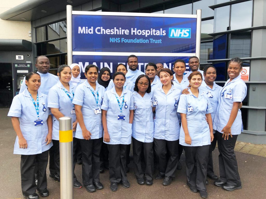 Candidates for Mid Cheshire Hospitals NHS Foundation Trust with their uniforms on, ready to thrive!